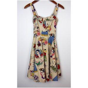Dresses & Skirts - Handmade Frida Kahlo Printed Pin Up Babydoll Dress